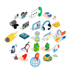 Means of subsistence icons set isometric style vector