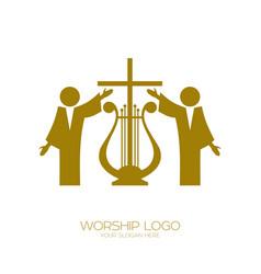 Music logo christian symbols worshiping god vector