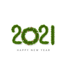numbers 2021 christmas tree branches isolated vector image