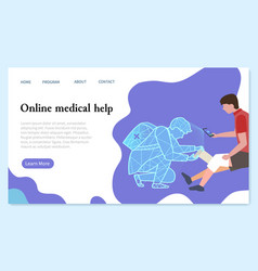 Online medical help web landing page template vector