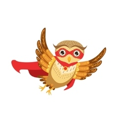 Owl Superhero Cute Cartoon Character Emoji With vector image