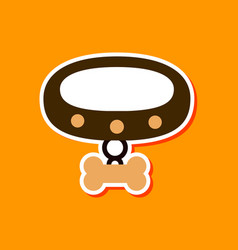 Paper sticker on stylish background dog collar vector