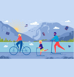 parents and child ride bicycles and scooters vector image