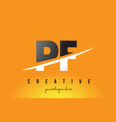 Pf p f letter modern logo design with yellow vector