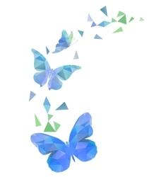 Polygon flying butterflies vector