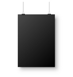 realistic black hanging blank paper sheet vector image