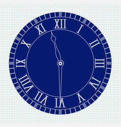 roman numeral clock on lined paper background vector image