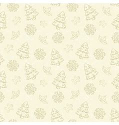 Seamless Christmas pattern with tree and snowflake vector image vector image
