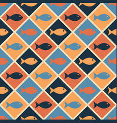 seamless nautical pattern with cute fishes vector image