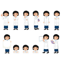 Set girl in science gown doing different poses vector