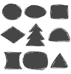 set monochrome grunge drawn ink stickers vector image