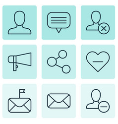 Set of 9 social network icons includes bullhorn vector
