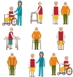 Set of Older People Disabled Elderly People in vector