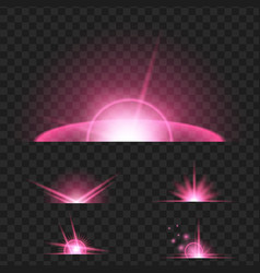 set of purple glowing light effect isolated on vector image