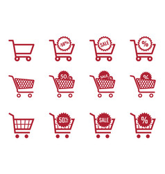 shopping cart icon set sale and discount icons vector image