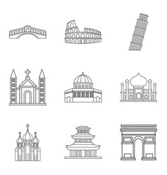 Shrine icons set outline style vector