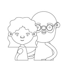 sketch silhouette of half body couple elderly of vector image