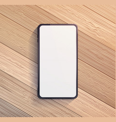 Smart phone on wooden table vector