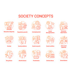 Society concept icons set social issues vector