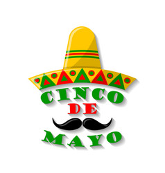 sombrero hat with moustache and lettering cinco vector image