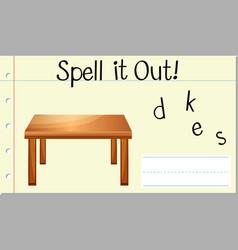 Spell english word desk vector