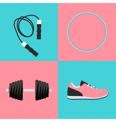 Sport Hula Hoop Trainers Dumbbells and Skipping vector