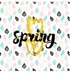 Spring fower handwritten card vector