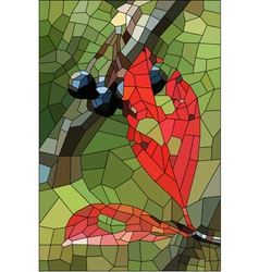 Stained glass with withered leaves and ripe berrie vector