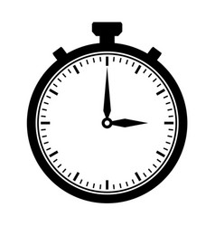 stop watch black flat outline drawing vector image