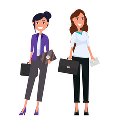 Stylish businesswomen in trousers blouse briefcase vector