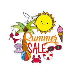 summer sale season offer discount poster with sun vector image