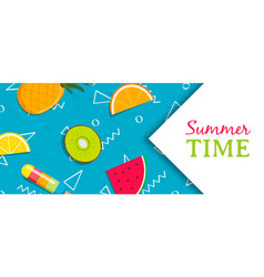 summer time banner with tropical fruit ice cream vector image