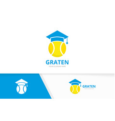 tennis and graduate hat logo combination vector image
