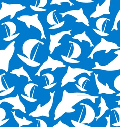 Texture of ships and dolphins vector image