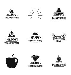 Thanksgiving logo set simple style vector