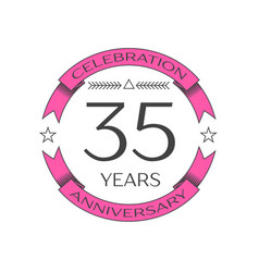 Thirty five years anniversary celebration logo vector