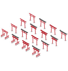 Torii isometric collection sixteen isolated vector
