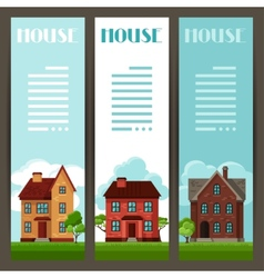Town vertical banners design with cottages and vector image