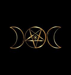 Triple moon goddess wicca pentacle symbol golden vector