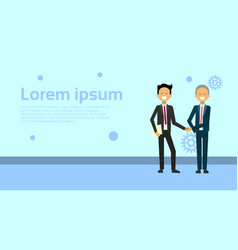 two business men shaking hands over background vector image