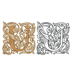 Vintage initial letter u with baroque decoration vector