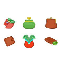 wallet icon set cartoon style vector image
