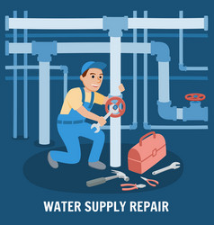 water supply repair vector image