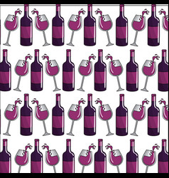 Wine bottle and glass background icon vector
