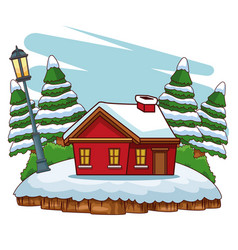 winter house cartoon vector image