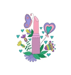 womens lipstick with flowers and butterfly vector image