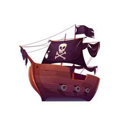 wooden pirate boat with black sails vector image