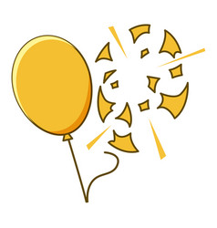 Yellow balloon popped on white background vector