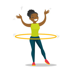 Young african woman doing exercises with hula hoop vector
