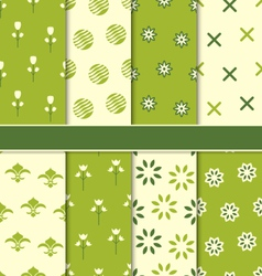 Collection of 8 Seamless Abstract Floral Ecologic vector image vector image